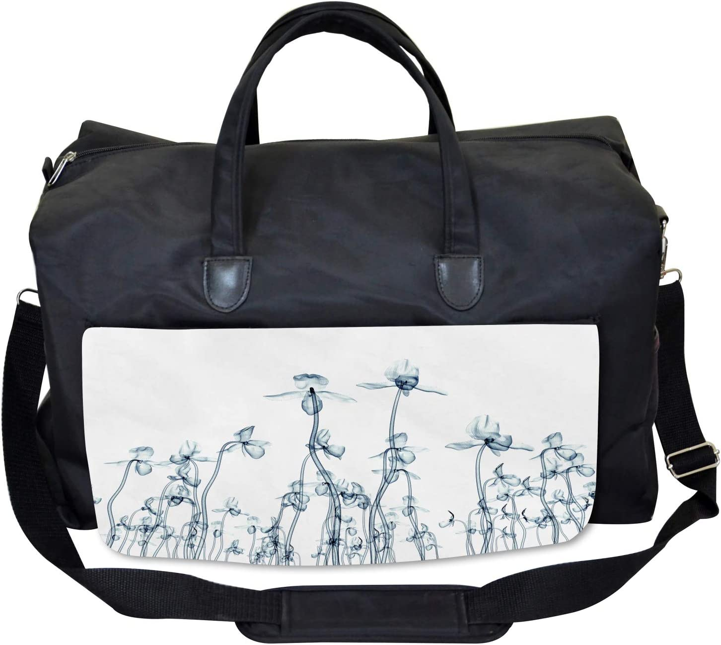 Large Weekender Carry-on Orchids Floral Photo Ambesonne Teal White Gym Bag