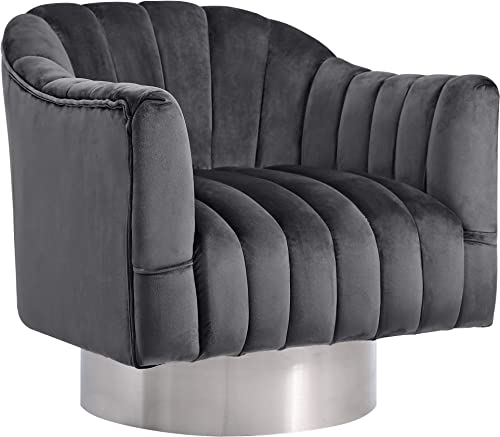 Meridian Furniture Farrah Collection Modern Contemporary Velvet Upholstered Accent Chair with Stainless Steel Base and Polished Chrome Finish, 32 W x 31 D x 31 H, Grey