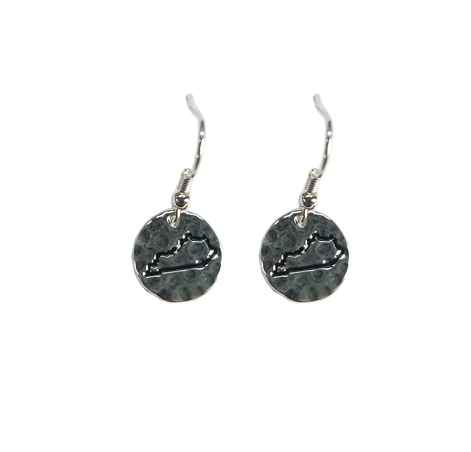 Nitro USA NCAA Womens State Maps Hammered Circle Frenchwire Earrings