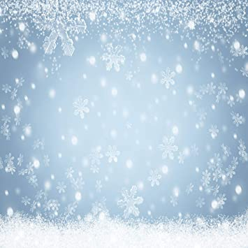 Little Lucky 10x10ft Blue Christmas Backdrop Fantasy White Snowflakes Photography Background for Xmas Holiday Photo Shoot Studio Prop