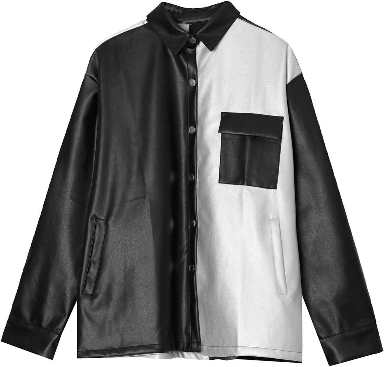 Vintage Casual Empalme Color Chaquetas Hombres Manga Larga Camiseta De Cuero Streetwear Hombre Suelto Hip Hop Abrigo Ropa Exterior,Negro,L