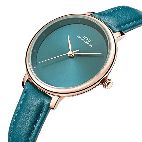 Amazon.com: Women Simple Face Watches Leather Band Luxury Quartz Watches Girls Ladies Wristwatch Reloj De Mujer (Green1): Watches