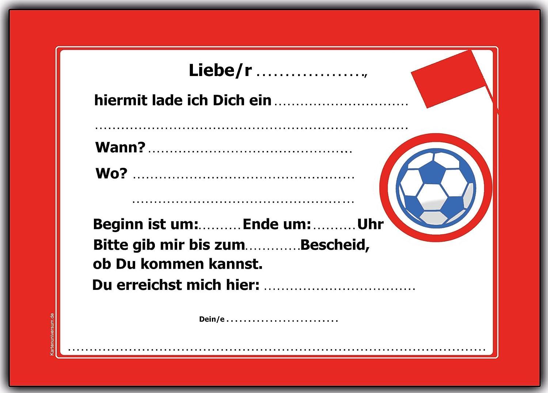 8 X Einladungskarten Fussball Rot Weiss Kindergeburtstag Einladung  Einladungen Karte Einladungs Set Motto: Amazon.de: Spielzeug