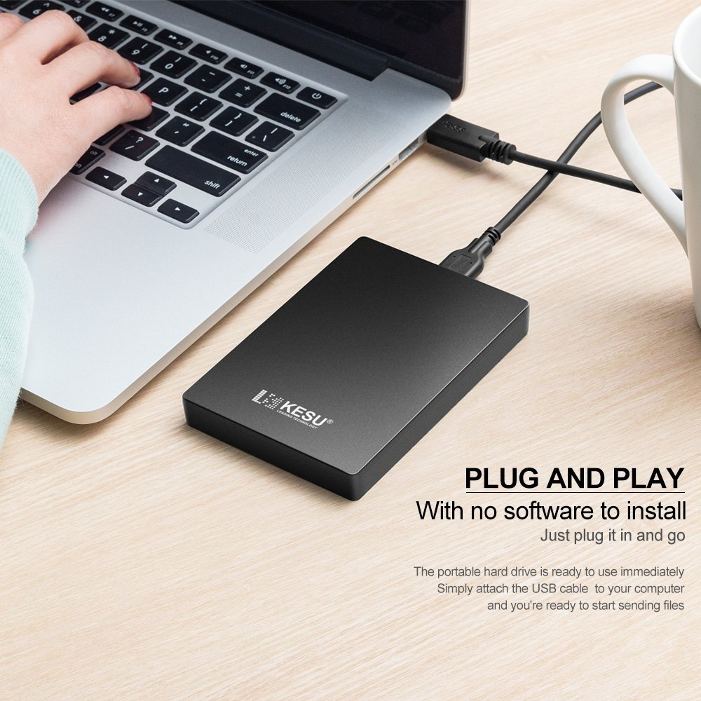PS4 KESU Disque Dur Externe Portable 2.5 250Go USB3.0 SATA Chromebook Xbox One Xbox 360 Stockage HDD pour PC PS4 Pro Mac Bleu MacBook PS4 Slim