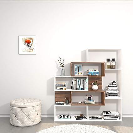 Homemania Theta Design by estantería, librería ERA, Blanco ...