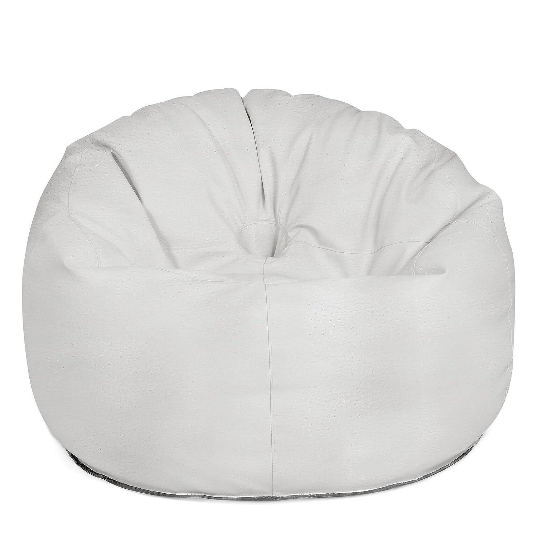 Outdoor Sitzsack Sessel Donut Deluxe hochwertige Lederoptik wetterfest frostsicher Hocker Gartenstuhl Gartensessel Gartenliege für draußen Outdoor Lounge Gartenmöbel moderner Look (Deluxe White)