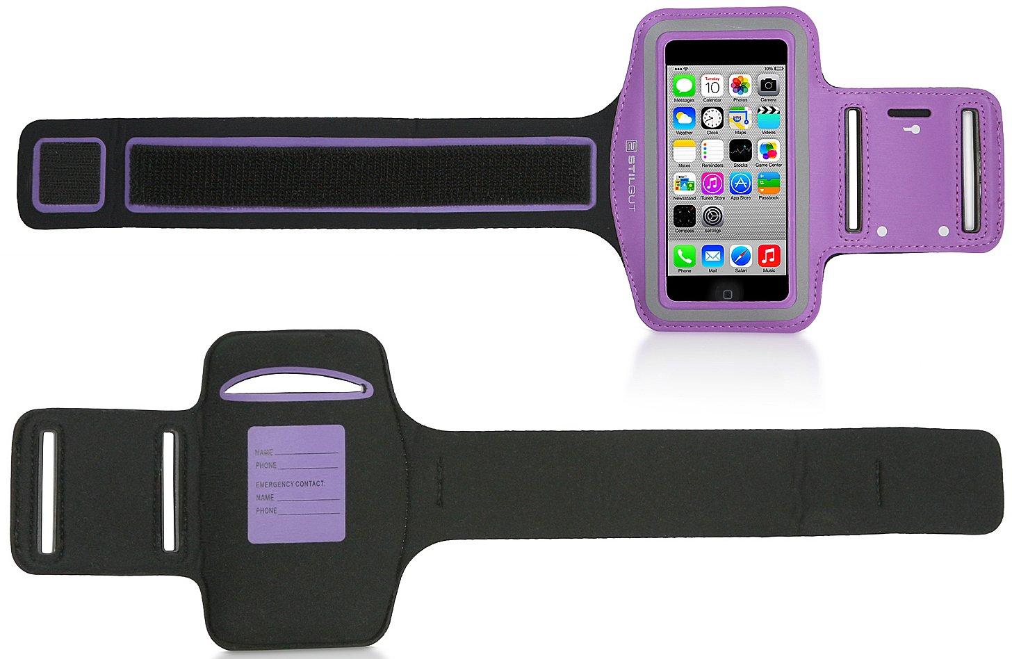 StilGut Fascia da Braccio per Apple iPhone SE /&5//5c//5s Nero Samsung Galaxy S4 Mini LG G2 Mini cellulari da 4