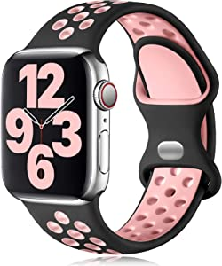Vcegari Sports Band Compatible with Apple Watch 38mm 40mm, Soft Breathable Silicone Strap for iWatch SE Series 6 5 4 3 2 1, Black/Pink M/L