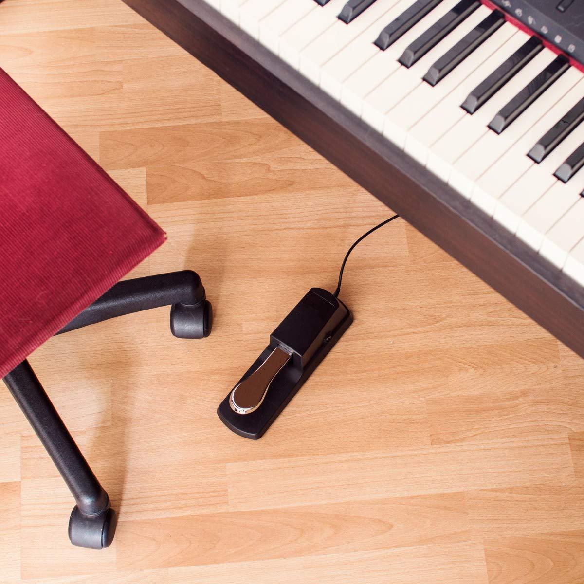 kwmobile Pedal sustain para piano eléctrico - Pedal sostenido para teclado digital con cable 1.5M - Pedal universal para MIDI sintetizador y órgano: ...