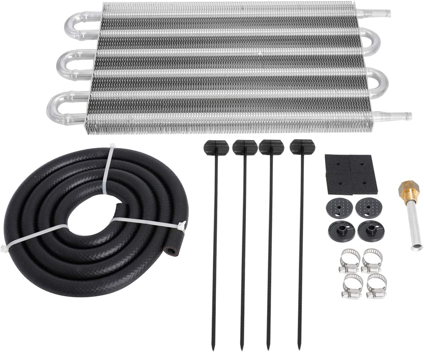 SUPERFASTRACING 6 Row Transmission Oil Cooler /& Mounting Kit Radiator Remote Aluminum