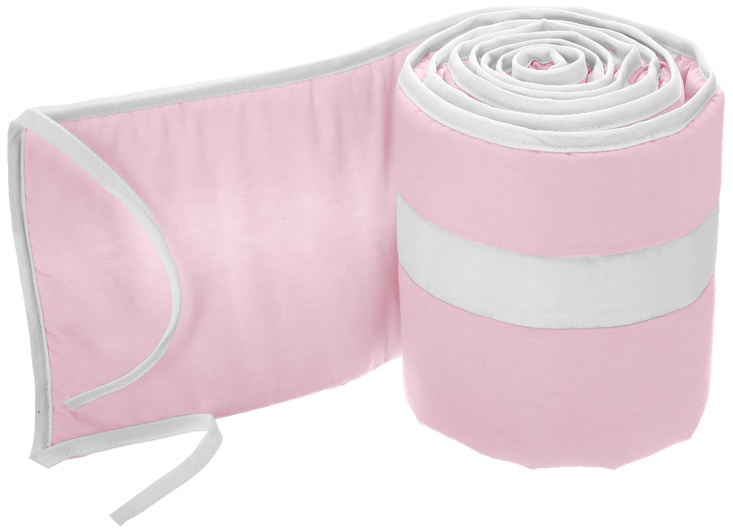 Babykidsbargains Stripe Cradle Bumper, Pink/White, 18'' x 36''