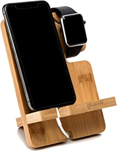 JACKCUBE Design Bamboo Charger Dock Stand Multi Device Charging Station Organizer Holder for Smartphone Cellphone Mobile Phone – :MK243A