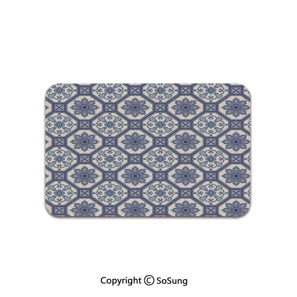Arabian Area Rug,Arabesque Floral Oriental Persian Afghan Medieval Baroque Tiles Shapes Tribal Artsy,for Living Room Bedroom Dining Room,6'x 3',Blue White by SoSung