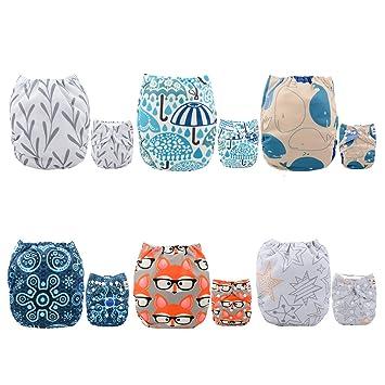 Alva baby cada paquete tiene 6pcs pañal y 2 inserciones ajustado pañal reutilizables de tela (