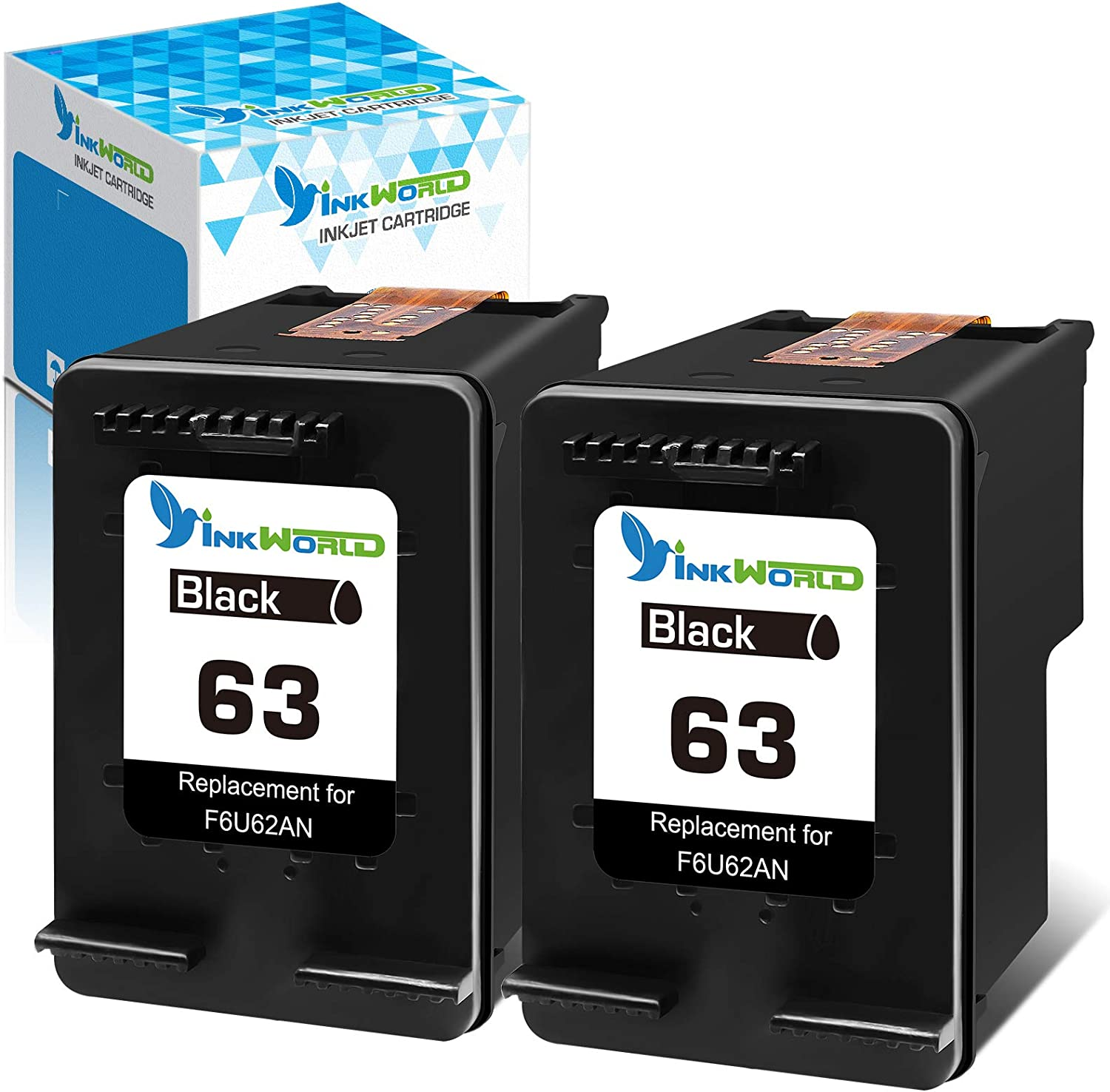 InkWorld Remanufactured 63 Ink Cartridge Replacement for HP 63XL Twin Black Used for Envy 4510 4520 3634 OfficeJet 3830 5252 4650 5258 4655 4652 5255 DeskJet 2130 3636 1111 3630 1112 3637 3632 Printer