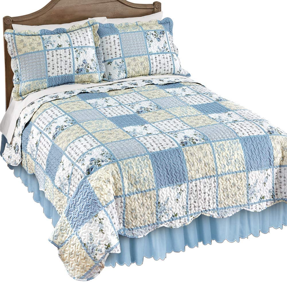 Collections Etc Willow Blue and Yellow Floral Patchwork Quilt with Checkered and Striped Patterns, Scalloped Edge Detail, King