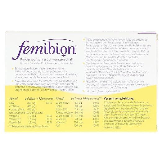 Merck femibion Natal 1 30 Pastillas Embarazo saludable: Amazon.es: Salud y cuidado personal