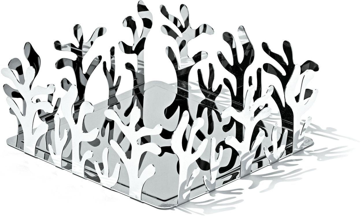 Alessi Mediterraneo Flat Paper Napkin Holder in 18/10 Stainless Steel Mirror Polished ESI18