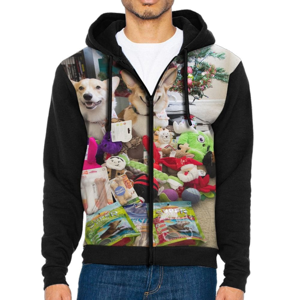 SESY Mens Hoodie Long Sleeve Sweatshirt Corgi-Puppies-Puppy Cool Printed Hooded Pullover Pocket Black