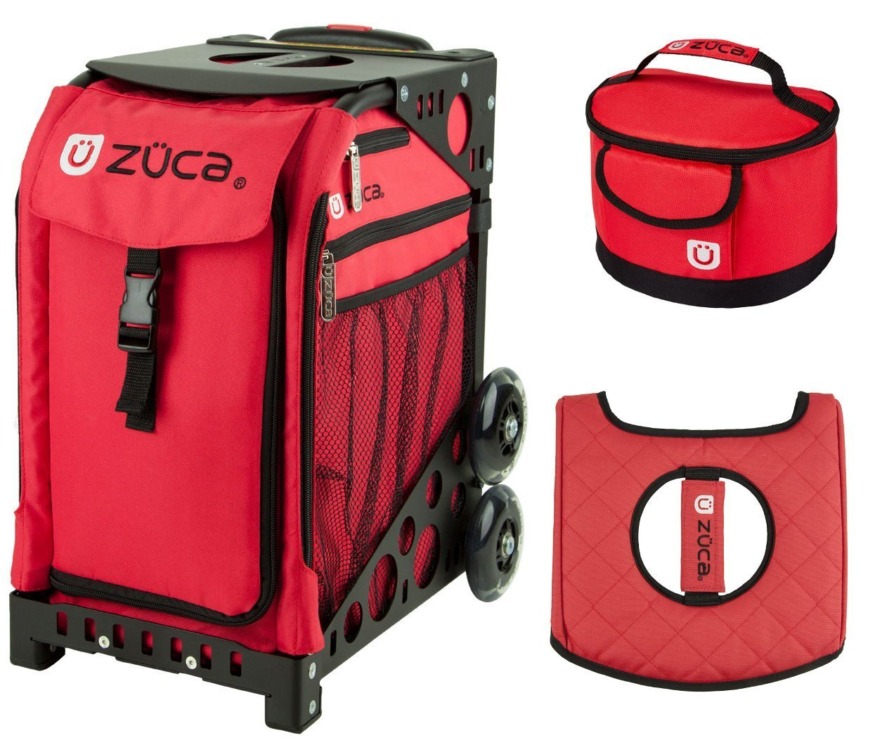 Zuca Sport Bag - Chili with Gift Lunchbox and Seat Cover (Black Frame) by ZUCA