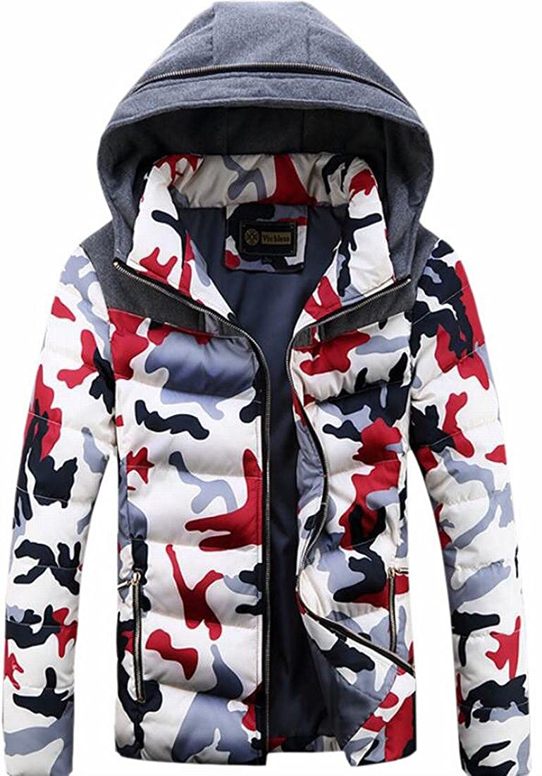 CBTLVSN Mens Fashion Camo Full Zip Hooded Jacket Quilted Puffer Padded Coat