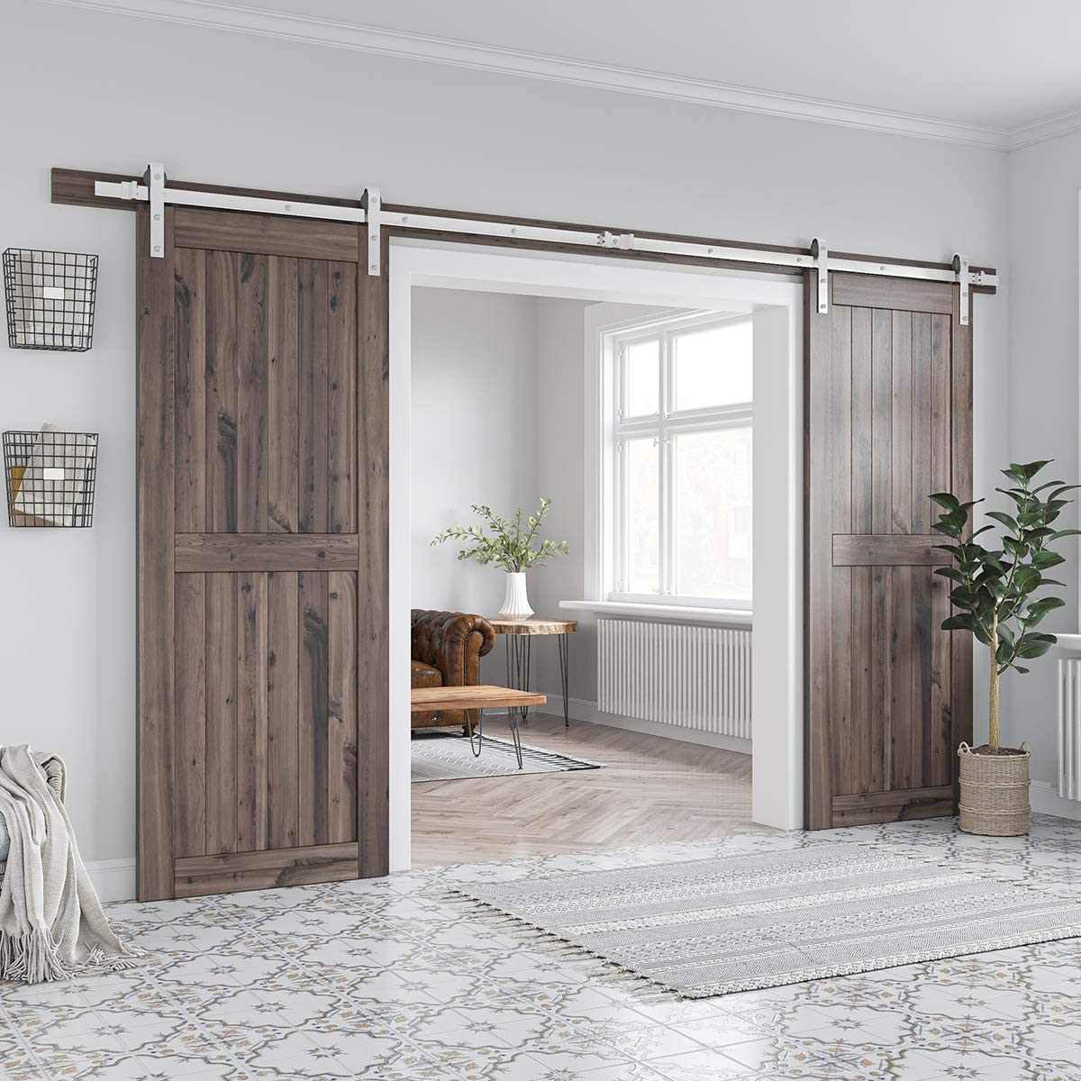 Easy to install SMARTSTANDARD 12ft Heavy Duty Double Door Sliding Barn Door Hardware Kit Smoothly and Quietly J Shape Hanger Includes Step-By-Step Installation Instruction Fit 36 Wide Door Panel
