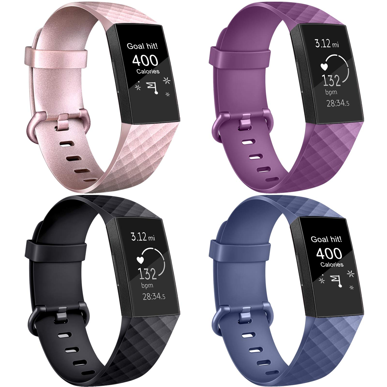 AK Compatible for Fitbit Charge 3 / Charge 4 Special Edition Strap, Charge 3 Straps Adjustable Replacement Sport Accessory Wristband for Fitbit Charge 3