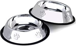 Set of 2 Stainless Steel Embossed Pet Food Bowls (Small)