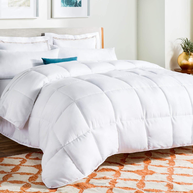 LINENSPA All-Season White Down Alternative Quilted Comforter - Corner Duvet Tabs - Hypoallergenic - Plush Microfiber Fill - Machine Washable - Duvet Insert or Stand-Alone Comforter - Queen (Renewed)