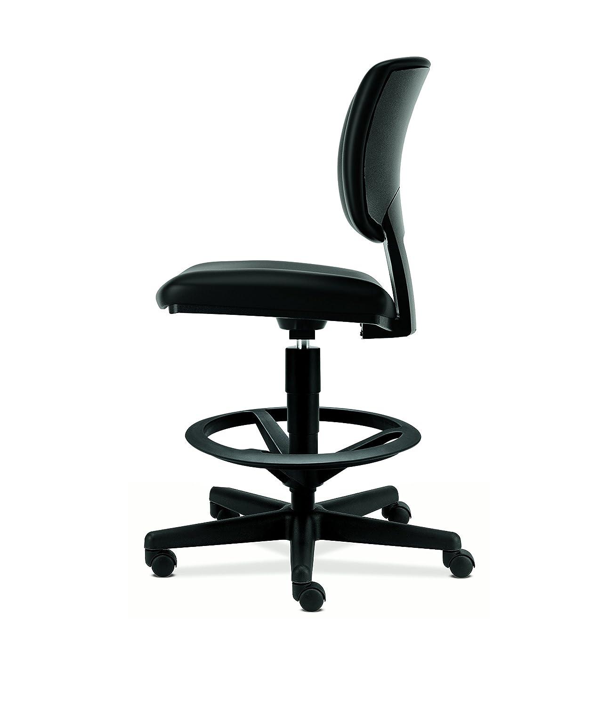 Black Leather Office Stool for Standing Desk The HON Company H5705 HON H5705.SB11.T Volt Task Stool
