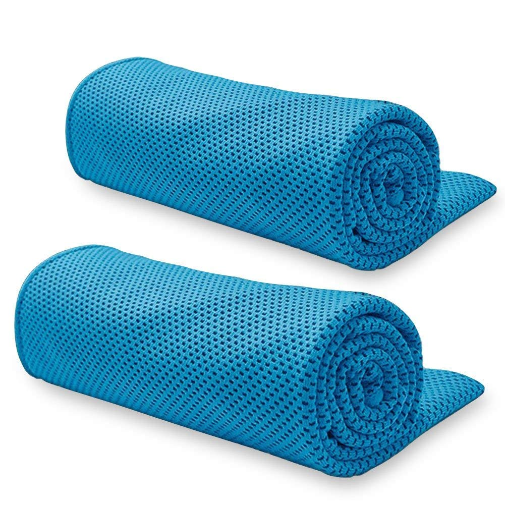 BeGrit Snap Cooling Towel Chilly Ice Cool Bowling Fitness Yoga Towels for Sports Travel Running Biking Hiking Gym Golf Workout Camping Pilates (Pack of 2)