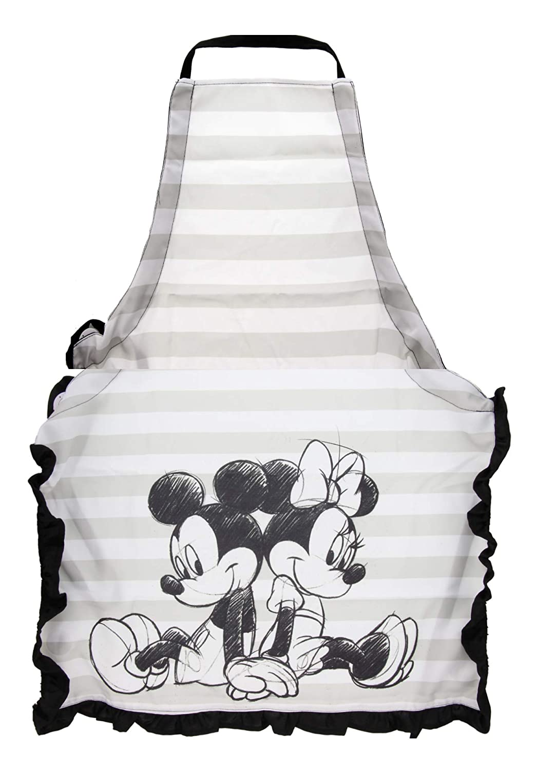 Disney Mickey & Minnie Mouse Apron - Stylish Design in White, Grey & Black With Mickey & Minnie Icon – Protect Your Clothes, Durable, Lightweight, Easy-Care - A Perfect Addition to Any Kitchen