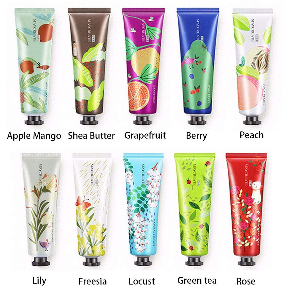 BONNIESTORE 10 Pack Fruits Extract Fragrance Hand Cream, Moisturizing Hand Care Cream Travel Gift Set With Shea Butter Natural Aloe and Vitamin E For Men And Women-30ml
