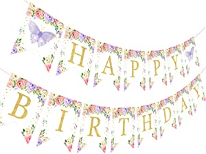 Butterfly Birthday Banner Butterfly Floral 1st 2nd 3rd Birthday Decorations Pink and Purple for Girls Women, Fairy Garden Birthday Party Supplies