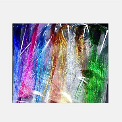 5 Packs Mixed Colors 0.3mm Flashabou Holographic Tinsel Crystal Flash Fly Tying