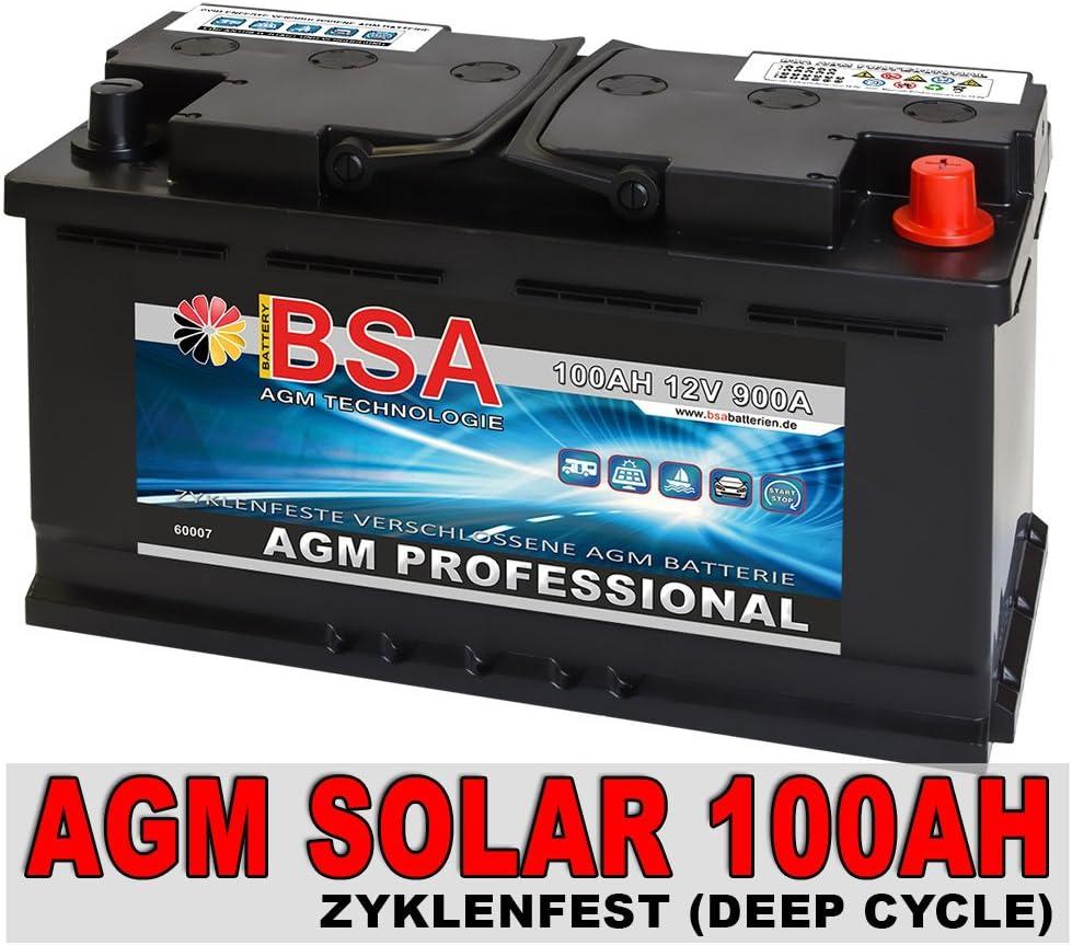 BSA AGM Batterie 100AH 12V Solarakku  Solarbaterie Versorgungsbatterie Wohnmobil