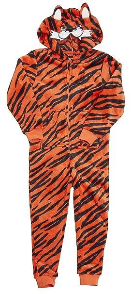 45dc53e9d Niño TIGRE Animal Rayas pijama de bebé Mono Con Capucha Cremallera mono con  cola tallas desde 2 a 13 Años - Naranja