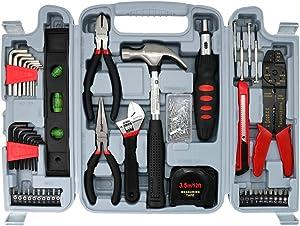 Hand Tool Kit Household Repair Tools-SAVWAY TOOL DIY Tool Set H4001A Hardware Toolbox 130pc Combo Kit Red and Black Toolbox Building Kits