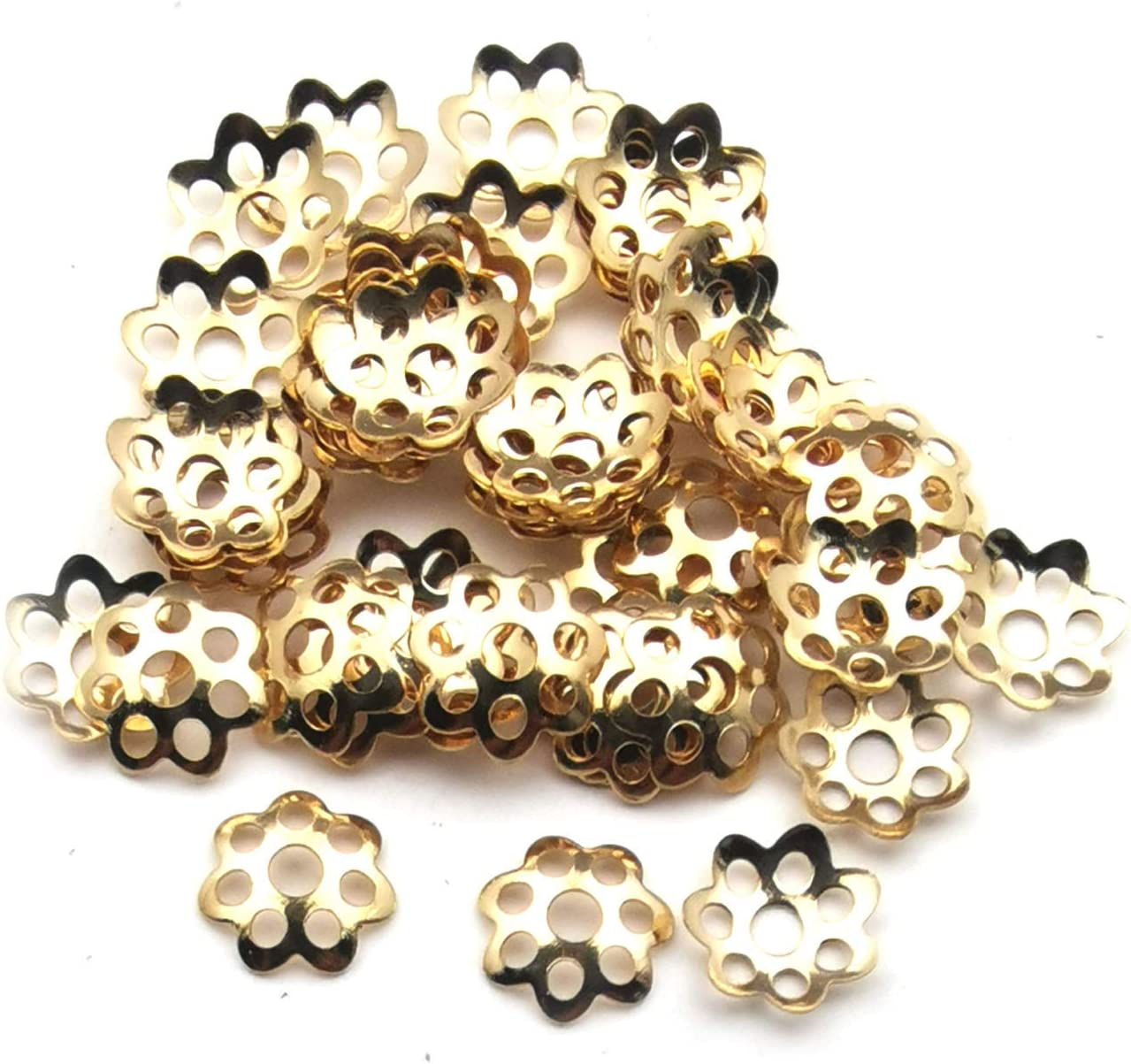 Youdiyla 1100PCS Mixed Size Flower Bead Caps Tibetan Style Flower Bead End Caps Spacers for Jewelry Making WM265