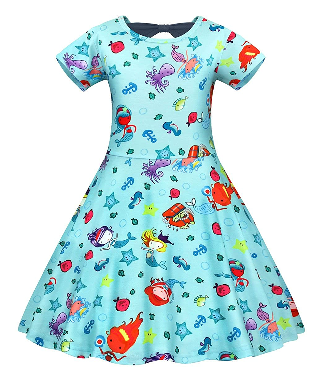 Filare Girls Little Mermaid Dress Kids Cosplay Halloween Cartoon Outfit Playwear Clothes 1-7 Years