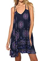 Futurino Women's Printing Irregular Hem Strappy Cross Back Flowy Mini Dress
