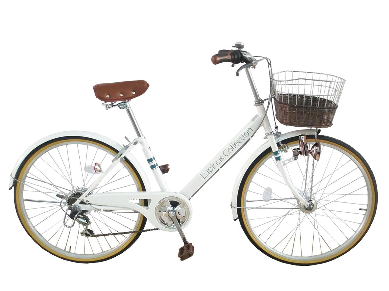 Lupinusルピナス 自転車 24インチ LP-246VD シティサイクル Vフレーム 籐風カゴ ダイナモライト 100%完成車 B01K4I2XXO ホワイト ホワイト