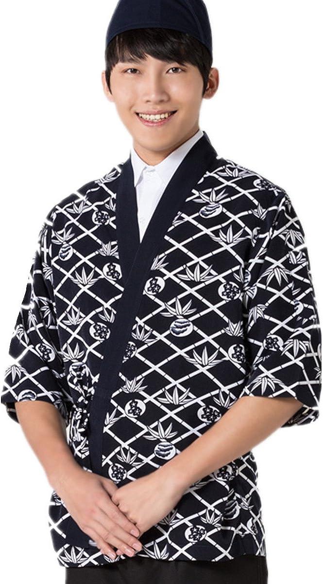 XINFU Sushi Chef Uniform 3//4 Long Sleeve Hotel Japanese Restaurant Kitchen Chef Coat