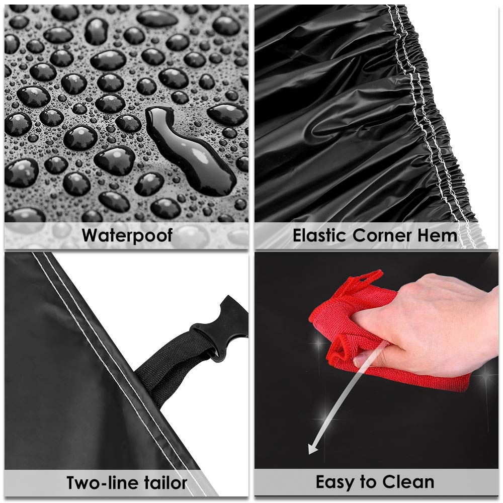 Sailnovo Funda para Coche Exterior Negra Impermeable Resistente al Sol, Polvo, Viento, Lluvia, Nieve y Rasguño 210T para Sedan (5.3 x 2 x 1.5m)