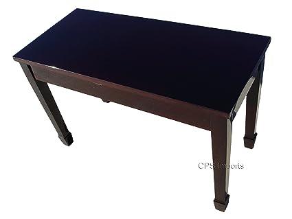 Mahogany Wood Top Grand Piano Bench With Music Storage