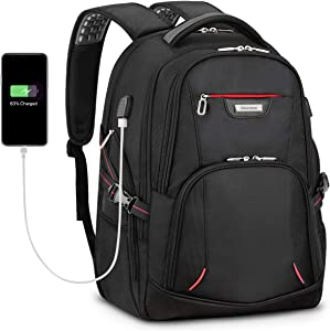 SHIELDON Travel Laptop Backpack, 17.3-inch Computer Business Backpack with Anti-Theft Pocket, USB Charging Port, Durable Extra Large 35L Carry-on College Schoolbag Laptop Bag for Men Women - Black