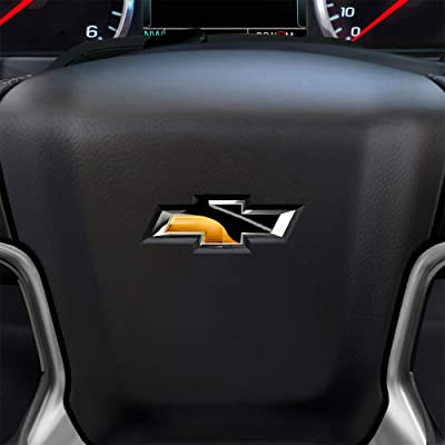 Bogar Tech Designs - PRECUT Steering Wheel Emblem Overlay Vinyl Decal Sticker Compatible with Chevy Silverado 2014-2020, Gloss Black: Automotive [5Bkhe0111363]