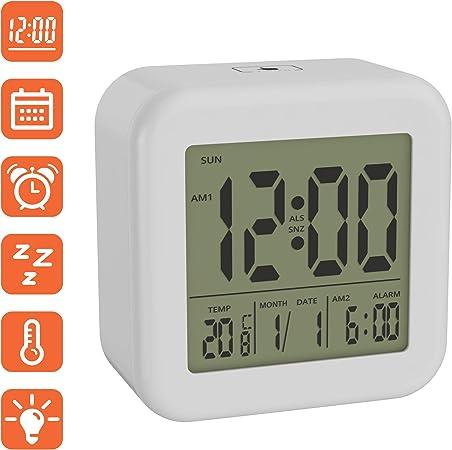 Tischuhr wei/ß Uhr Wecker Mit Licht /& Snooze Funktion LCD Wecker Digital BonVivo DIGI Morning Alarm Clock Mit Weckfunktionen Datum /& Temperatur Digitalwecker Mit Uhrzeit Wecker Batteriebetrieben