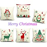 "HOSL P48 Merry Christmas Series Cotton Linen Throw Pillow Case Decorative Cushion Cover Pillowcase Square 18"" - (Set of 6)"