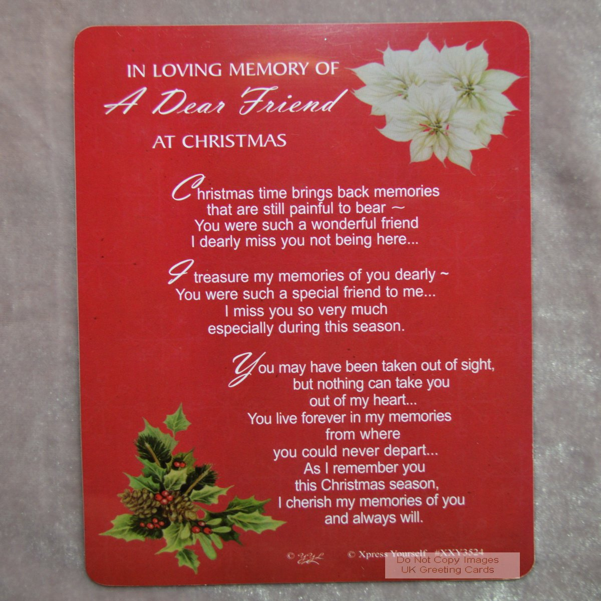 Graveside memorial christmas card holder in loving memory of a graveside memorial christmas card holder in loving memory of a dear friend 3524 amazon kitchen home kristyandbryce Choice Image
